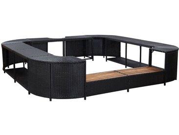 Cadre de spa carré Noir 268x268x55 cm Résine tressée - vidaXL