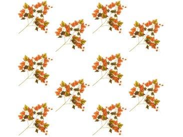10 pcs Feuilles artificielles de raisin Rouge 70 cm - vidaXL