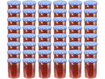 48 pcs Pots à confiture Couvercle blanc et bleu Verre 400 ml - vidaXL