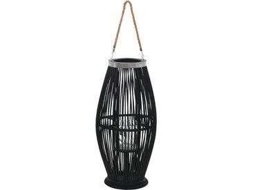 Bougeoir suspendu Bambou Noir 60 cm - vidaXL