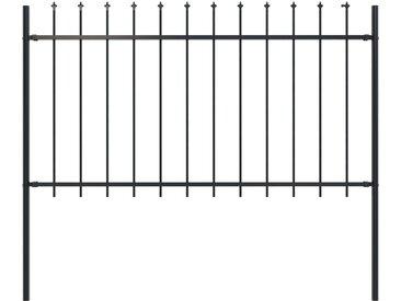 Clôture de jardin avec dessus en lance Acier 1,7 x 1 m Noir - vidaXL