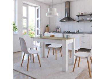 Table à dîner Blanc et chêne sonoma 120 x 60 x 76 cm Aggloméré - vidaXL