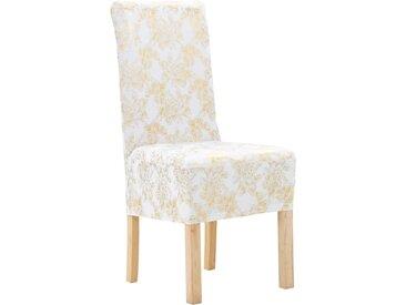 Housses extensibles de chaise 4 pcs Blanc avec imprimé doré - vidaXL