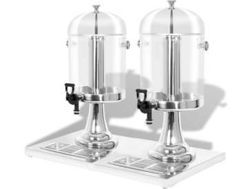 Double distributeur de jus en acier inoxydable 2 x 8 L - vidaXL