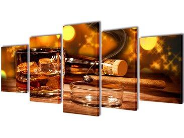 """Set de toiles murales imprimées """"Whisky et cigare"""" 200 x 100 cm - vidaXL"""