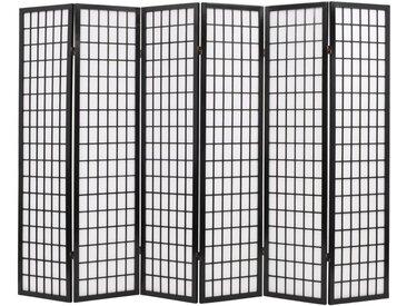 Cloison de séparation 6 panneaux Style japonais 240x170 cm Noir - vidaXL