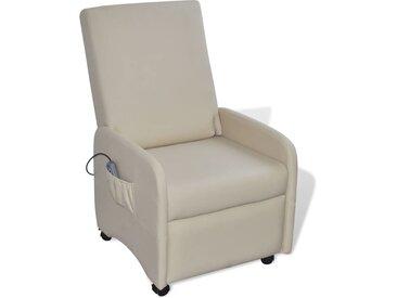 Fauteuil de massage Crème Similicuir  - vidaXL