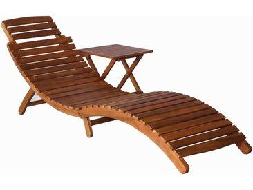 Chaise longue avec table Bois d'acacia massif Marron - vidaXL