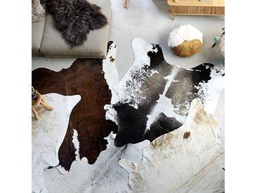 Tapis en peau de vache véritable Noir et blanc 150 x 170 cm - vidaXL