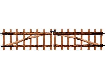 Portillon double de clôture Bois noisetier imprégné 300x60 cm - vidaXL