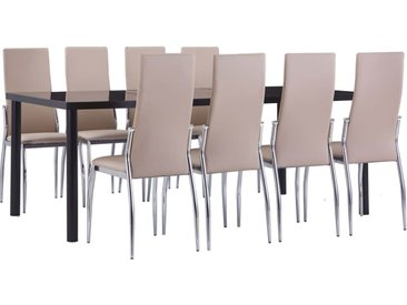 Ensemble de salle à manger 9 pcs Similicuir Cappuccino  - vidaXL