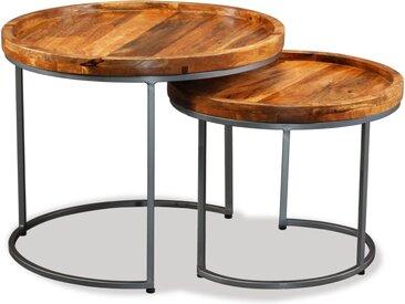 Ensemble de tables d'appoint 2 pcs Bois de manguier massif - vidaXL