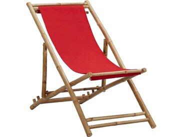 Chaise de terrasse Bambou et toile Rouge - vidaXL