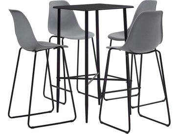 Ensemble de bar 5 pcs Plastique Gris - vidaXL