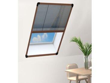 Moustiquaire plissée pour fenêtre Aluminium Marron 80x160 cm - vidaXL