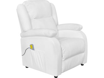 Fauteuil de massage Blanc Similicuir - vidaXL