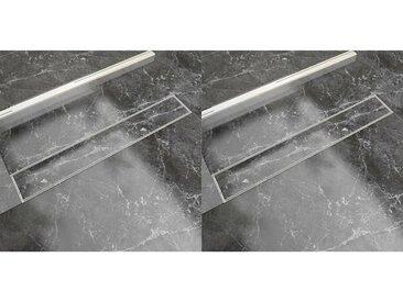 Drain de douche linéaire 2 pcs 730 x 140 mm Acier inoxydable - vidaXL