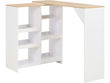 Table de bar avec tablette amovible Blanc 138 x 40 x 120 cm - vidaXL