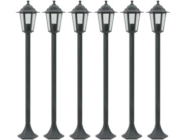 Lampe de jardin à piquet 6 pcs E27 110 cm Aluminium Vert foncé - vidaXL