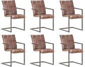 Chaises de salle à manger cantilever 6pcs Marron Cuir véritable - vidaXL