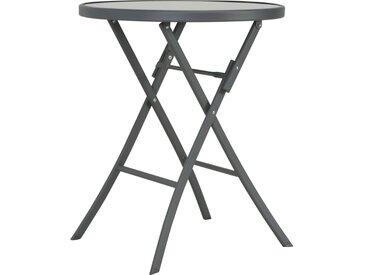 Table de bistro pliable Gris 60 x 70 cm Verre et acier - vidaXL