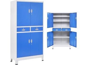 Armoire de bureau avec 4 portes Métal 90x40x180 cm Gris et bleu - vidaXL