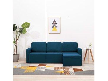 Canapé-lit modulaire 3 places Bleu Tissu - vidaXL