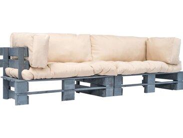 Canapés de jardin palette 2 pcs avec coussins Gris Pinède FSC - vidaXL