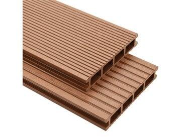 Panneaux de terrasse avec accessoires WPC 16 m² 2,2 m Marron   - vidaXL