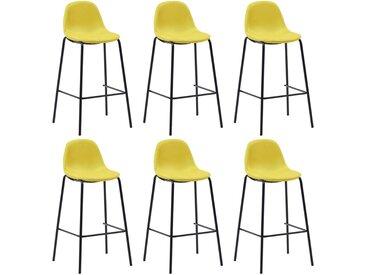 Chaises de bar 6 pcs Jaune Tissu - vidaXL