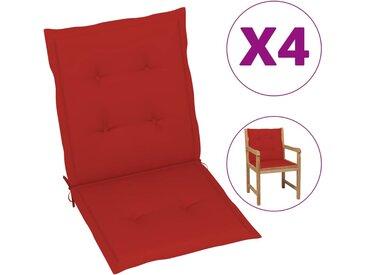 Coussins de chaise de jardin 4 pcs Rouge 100 x 50 x 3 cm - vidaXL
