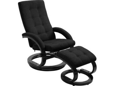 Fauteuil inclinable avec repose-pieds Noir Tissu en daim - vidaXL