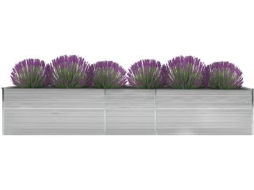 Lit surélevé de jardin Acier galvanisé 400x80x45 cm Gris - vidaXL