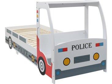 Lit voiture de police avec bureau pour enfants 90 x 200 cm - vidaXL