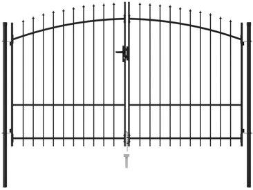 Portillon double porte avec dessus à pointe Acier 3x2 m Noir - vidaXL