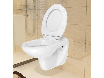 Toilette avec siège avec fermeture en douceur Céramique Blanc - vidaXL