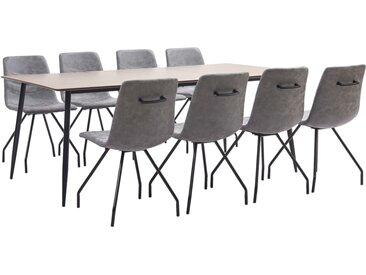 Ensemble de salle à manger 9 pcs Gris foncé Similicuir - vidaXL