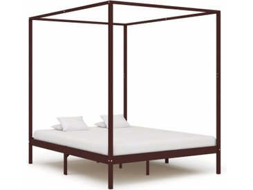 Cadre de lit à baldaquin Marron foncé Pin massif 180 x 200 cm - vidaXL