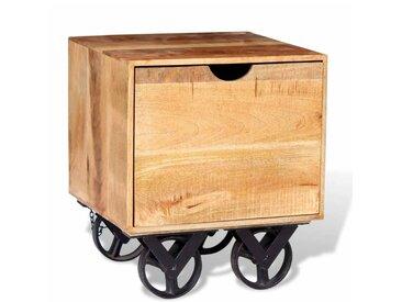 Table d'appoint tiroir et roues Bois de manguier 40 x 40 x 45cm - vidaXL