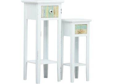 Ensemble de 2 tables d'appoint Blanc MDF - vidaXL