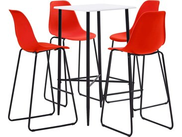 Ensemble de bar 5 pcs Plastique Rouge - vidaXL