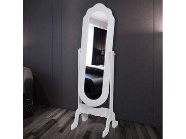 Miroir sur pied réglable Blanc - vidaXL