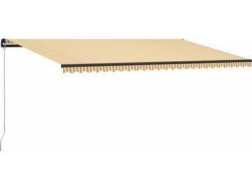 Auvent manuel rétractable 600x300 cm Jaune et blanc - vidaXL