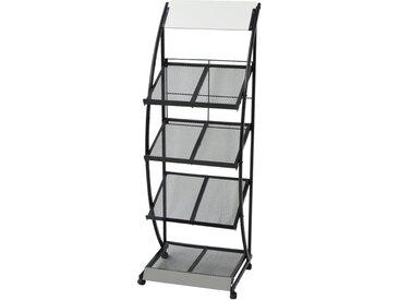 Porte-revue 47 x 40 x 134 cm Noir et blanc A4 - vidaXL