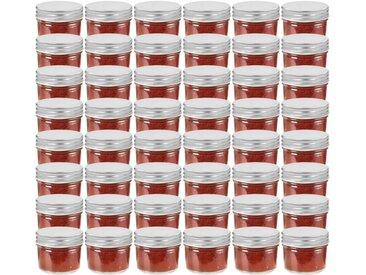 48 pcs Pots à confiture avec couvercles argentés Verre 110 ml - vidaXL