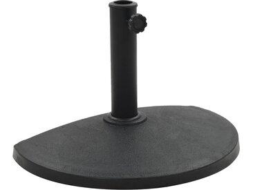 Socle demi-rond de parasol Polyrésine 9 kg Noir - vidaXL