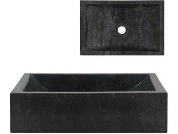 Évier 45 x 30 x 12 cm Marbre Noir - vidaXL