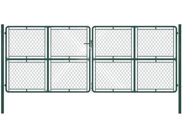 Portail de jardin Acier 400 x 150 cm Vert - vidaXL