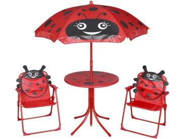 Jeu de bistro avec parasol pour enfants 3 pcs Rouge - vidaXL