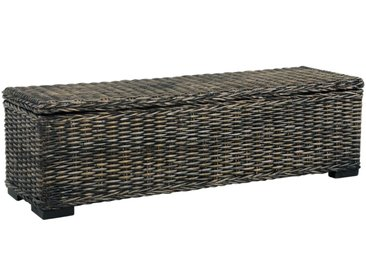 Boîte de rangement 120 cm Noir Rotin naturel kubu et manguier - vidaXL